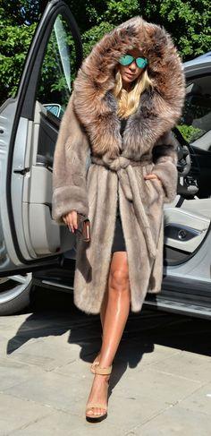 Platinum Saga Mink Fur Coat Silver Fox Hood Trench Class Jacket Sable Chinchilla | eBay