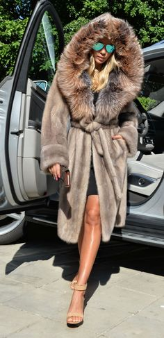 Platinum Saga Mink Fur Coat Silver Fox Hood Trench Class Jacket Sable Chinchilla | eBay