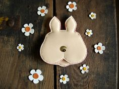 cute pink rubbit purse easter bunny pouch in blush by RachelaPiras