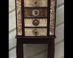 Royal Birds Repurposed Jewelry Armoire Custom Made To Order