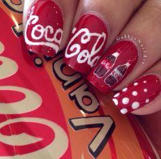 Cute Coca Cola Nails Painted Nail Art Photos Natural Ios