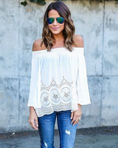 **** White off the shoulder laser cutout top, paired with distressed jean and reflected aviators! Boho chic.  Love, love, love this look.  Stitch Fix Fall, Stitch Fix Spring 2016 2017. Stitch Fix Fall Spring fashion. #StitchFix #Affiliate #StitchFixInfluencer