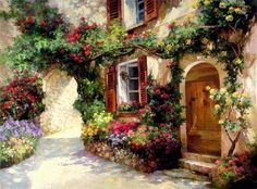 Painting by Paul Guy Gantner Pintura Colonial, Pintura Exterior, Cottage Art, Bob Ross, Counted Cross Stitch Patterns, Garden Art, Watercolor Paintings, Watercolors, Decoupage