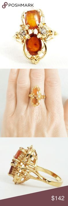 """Vintage 18K Gold Amber & Diamond Ring Spectacular Vintage 18K Gold Amber & Diamond Ring. Ring has 2 genuine Baltic Amber cabs, flanked by a diamond on each side. Dating to the late 1960s-early 1970s. Face measures approximately 2"""" x .25"""". Size 7.5. in beautiful condition. Stamped 18K, and what I think says HGE, so it may be electroplated, which still makes it a pricey piece. Vintage Jewelry Rings"""