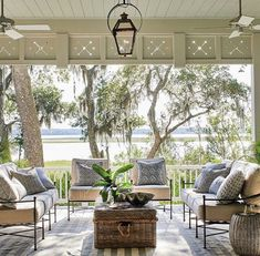 Beautiful outdoor living space by Heather Chadduck for the Southern Living Idea House. Outdoor Rooms, Outdoor Living, Outdoor Furniture Sets, Outdoor Decor, Furniture Ideas, Indoor Outdoor, Round Outdoor Dining Table, Modern Furniture, Geek Furniture