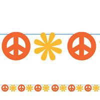 60's Peace Sign String Decoration 100ft      Put up a groovy decoration for your 60's party! 60's Peace Sign String Decoration features cutouts of peace signs and 60's flowers in sunshine red and yellow strung on a 100ft long sturdy string.  $6.99