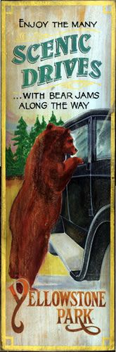 Yellowstone Park Bear Jams vintage sign