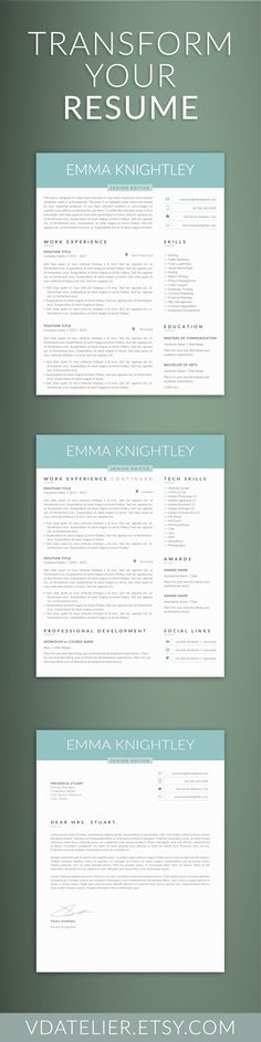 Professional Resume Template, Cv Template, Extra Page, Cover