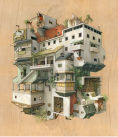 Multi-directional Surreal Architecture Drawings and Paintings. See more art and information about Cinta Vidal Agulló, Press the Image. Photomontage, Building Concept, Perspective Drawing, Spanish Artists, Architecture Drawings, Architecture Artists, Environment Design, Art Classroom, Art Day