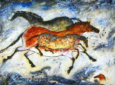 Three Horses cave art painting by noted wildlife artist Sherry Bryant Art Pariétal, Paleolithic Art, Art Rupestre, Cave Drawings, Equine Art, Aboriginal Art, Animal Tattoos, Native American Art, Cave Painting