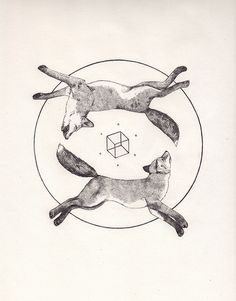 Tattoo Inspiration - (Geometric) Foxes. A Peter Carrington illustration. #Art