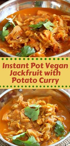 This Instant Pot Vegan Jackfruit with Potato Curry recipe is so amazing and flavorful, made with simple ingredients it will be a favorite of yours as it is of mine. Healthy Summer Recipes, Healthy Recipes On A Budget, Healthy Crockpot Recipes, Healthy Meals For Kids, Healthy Breakfast Recipes, Beef Recipes, Vegetarian Recipes, Dinner Healthy, Potato Recipes