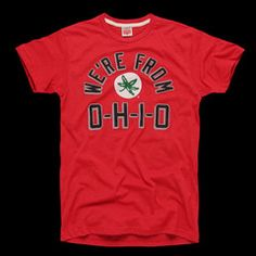 Represent your roots in our super-soft classic teefeaturing the rally cry from our favorite fight song. We're from O-HI-O. OH! *Coupon codes and discounts are not currently eligible for licensed Ohio State University apparel. We apologize for the inconvenience.  • UNISEX STYLE• HEATHERED RED, POLY/COTTON BLEND• CREWNECK TEE SHIRT• SLIMMER FIT• SOFT SCREENPRINT AT CHEST• MADE IN USA