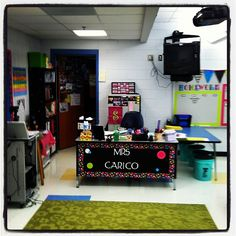 Lastest The Wall Decal And Fabric Around Desk Of This Teachers Room