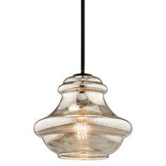 "Kichler 42044MER Everly Single Light 12"" Wide Pendant with Mercury Style Glass S Olde Bronze Indoor Lighting Pendants"