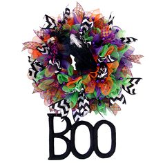 Halloween Ruffle Wreath Tutorial using Deco Poly Mesh Pencil Ball Work Wreath, Chevron Ribbon and RAZ Halloween Decorations see the blog post for more images and instruction http://www.trendytree.com/blog/halloween-ruffle-wreath-tutorial-using-deco-poly-mesh-and-raz-halloween-decorations/