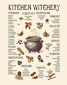 Kitchen Witchery: Classic Herbs Found in a Witch's Pantry – Anima Mundi Herbals Witchcraft Herbs, Witchcraft Spell Books, Green Witchcraft, Wiccan Spells, Magick, Magic Spells, Magic Herbs, Herbal Magic, Witch Spell Book