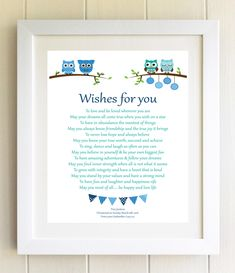 Christening Gift Plaque Naming Ceremony New Baby Gift Wishes For You baby child Personalised Framed Poem Children's birthday present gift by WordsOfEssence on Etsy
