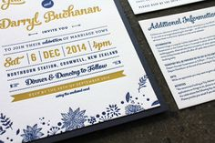 Retro Floral Navy & Gold {Letterpress} Invitation. Designed by Georgia Mather (www.andgeorgiasaid.com) whilst at Little Peach Co.