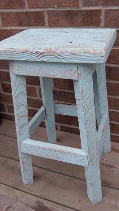 "YOUR Rustic and Reclaimed Rectangle Oak Barn Wood Bar Stool with 32"" Tall Seats Sealed or Painted"