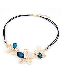 Korean Fashion Rhinestone Inlaid Butterfly Flowers Necklace - Blue