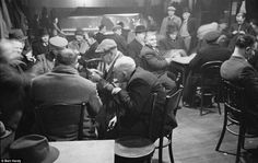 Men at a social club in Gorbals in 1948. Often referred to as Europe's worst slum, Gorbals, Glasgow was filled with low-quality housing and street gangs