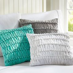 PB Teen Pretty Poms Pillow Cover, 16x16, Light Grey ($25) ❤ liked on Polyvore featuring home, home decor, throw pillows, square throw pillows, textured throw pillows, handmade home decor and pbteen
