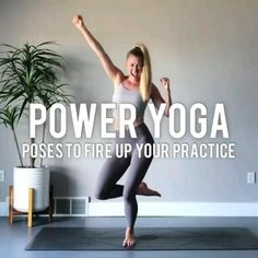 POWER YOGA - Poses to fire up your practice:  Share this post for those days you want to add some extra FIRE to your practice!  Here are some poses you can try to build more strength & stamina in your body!  LETS DO THIS:  1. POWER CHAIR: As is chair pose isn't hard enough. This variation will light up the legs and test your balance. Start by lifting the heels and then sweeping the arms back as you lower the chest. If doing both at the same time is too tricky, try just one option!  2. 3 WAY… Yoga Fitness, Sport Fitness, Power Yoga Poses, Power Yoga Videos, Yoga Sculpt, Flexibility Workout, Yoga Poses For Beginners, Vinyasa Yoga, Yoga Routine
