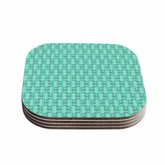 Kess InHouse Holly Helgeson 'Mod Pod' Teal Pattern Coasters