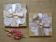 Embellish a simple invitation with vintage style doilies to give your stationery a crafty, handmade touch & hint at the style of your wedding. Doily Invitations, High Tea Invitations, Wedding Invitations, Invites, Wedding Favors, Wedding Reception, Cute Gift Wrapping Ideas, Creative Gift Wrapping, Wrapping Presents
