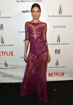 This dress is risky but we think Alessandra Ambrosio pulls it off at the Weinstein Company & Netflix's 2015 Golden Globes After Party #goldenglobe #alessandraambrosio