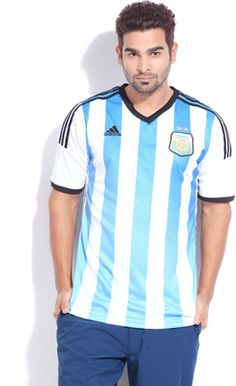 Buy adidas Argentina Home FIFA Jersey Striped Men's V-neck T-Shirt Online at Best Offer Prices @ Rs. 2,999/- In India. Only Genuine Products. 30 Day Replacement Guarantee. Free Delivery. Cash On Delivery!