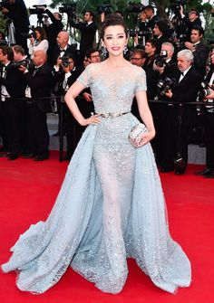 Li Bingbing in a Zuhair Murad Couture gown during The Sea of Trees premiere at Cannes 2015 red carpet