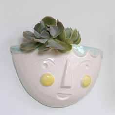 Designed to hang on walls inside or outside, it can be used for storage or filled with low maintenance plants such as succulents Ceramic Wall Planters, Low Maintenance Plants, Beautiful Gifts, Wedding Gifts, Succulents, Mint, Ceramics, Handmade, Hearts