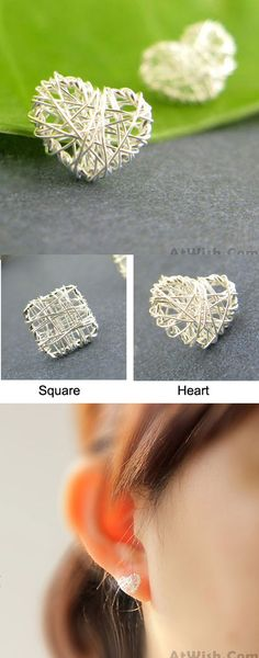Sweet Heart Square Anti-allergy Studs Silver Wire Drawing Earring for big sale ! #studs #silver #wire #square #heart #sweet #earring