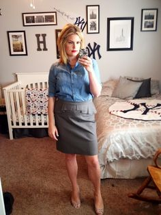 A peplum and a chambray.
