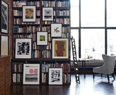 hanging art over bookcase