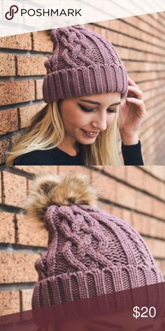 New❣️Rose Cable Knit Beanie with Pom Pom New❣️ Rose Cable Knit Beanie with Pom-Pom. No trades. Price is firm unless bundled. Glamvault Accessories Hats
