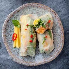 Spring Rolls with Salmon, Arugula, Mango and Vegetables Recipe