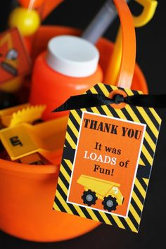Construction Themed birthday truck tags! 3rd Birthday Party with So Many Great…