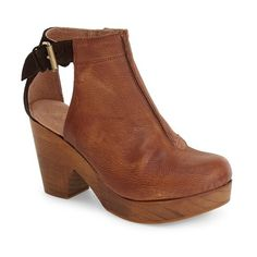 "Free People 'Amber Orchard' Cutout Bootie, 3 1/2"" heel ($168) ❤ liked on Polyvore featuring shoes, boots, ankle booties, chocolate leather, cut-out ankle boots, platform clogs, platform booties, cutout ankle boots and high heel platform booties"