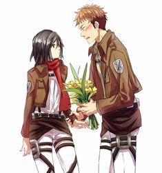 Flowers   Attack on Titan / Shingeki no Kyojin AoT/SnK   Jean Kirstein/Kirschtein x Mikasa Ackerman JeanKasa/JeanMika   Anime Manga cute couple OTP