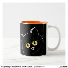 Mug orange-black with has cat and circles - home gifts ideas decor special unique custom individual customized individualized Cool Diy, Home Gifts, Cats And Kittens, Circles, Unique Gifts, Kitty, Mugs, Orange, Cool Stuff