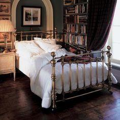 Hand-crafted Coriander pure brass bed from And So To Bed imposing proportions and cannon-ball finials. Also available in polished nickel. http://www.andsotobed.co.uk/beds/brass-and-nickel-plate-beds/brass/coriander-brass-bed-2.html