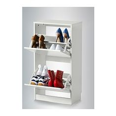 BISSA Shoe Cabinet With 2 Compartments, White | Shoe Rack Closet, Floor  Space And Shoe Rack