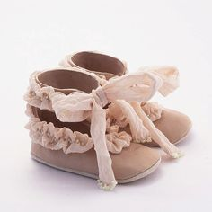 Beige baby shoes from silkruffled leather by Vibys on Etsy, $55.00