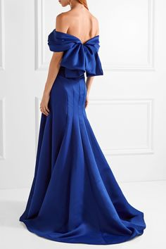 MARCHESA Off-the-shoulder duchesse-satin gown