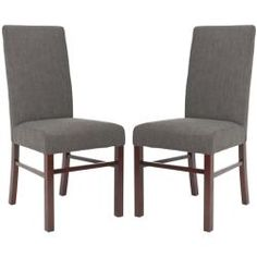 @Overstock - These elegant Classical Parsons chairs are designed with a high seat back. These chairs feature a sturdy maple finished hardwood frame with a charcoal cotton upholstery.http://www.overstock.com/Home-Garden/Classical-Parsons-Charcoal-Cotton-Side-Chairs-Pack-of-2/5721310/product.html?CID=214117 $254.99