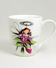 Tasse blanche : : Ange Eva  *** Produit peint à la main. Ceramic Painting, Painted Ceramics, Painted Wine Glasses, Coffee Cups, Stained Glass, Projects To Try, Creations, Bottle, Tableware