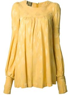 Yellow silk bird print tunic dress from Biba featuring a round neck, pleated details, bell sleeves, button cuffs and a concealed rear zip fastening.